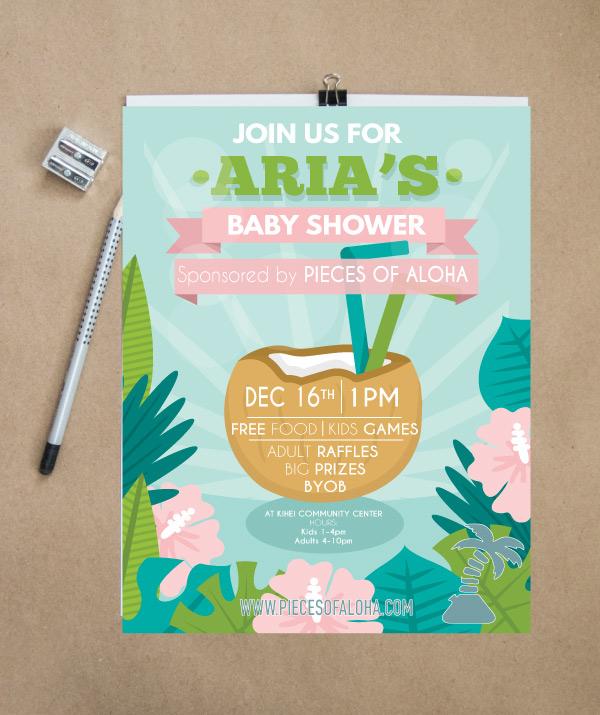Aria baby shower flyer